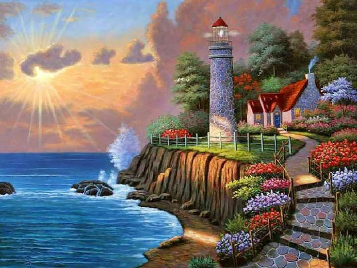 218 best images about seascape paintings beach and cliffs on pinterest tropical art group of - Lighthouse live wallpaper ...