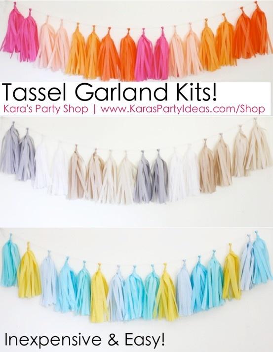 Kits Garland borla!  Barato e fácil!  Via Idéias do partido de Kara Loja | KarasPartyIdeas.com tassle # # # confete guirlanda kits # # diy # tutorial # partido # banner # shop # Idéias