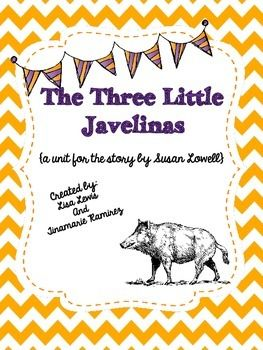 The Three Little Javelinas is a fun twist on The Three Little Pigs. This retelling of the folktale is set in the southwest, javelinas have replaced the pigs, and a coyote has replaced the wolf. The materials for the houses are unique as well!  This unit contains:1.