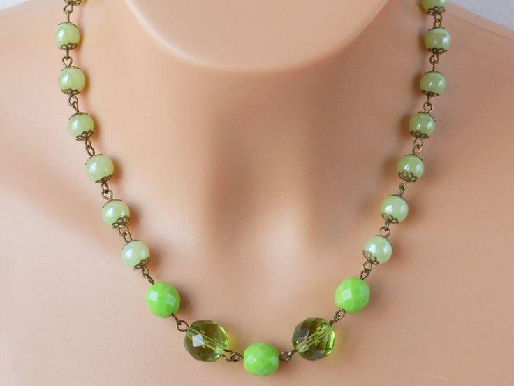 Green glass bead necklace,bronze necklace,Czech fire polished bead necklace,green necklace,green jewelry,green jewellery by akcrystalbead on Etsy