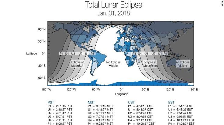 """Global map showing the different timings that areas across the world will be experiencing the """"super blue blood moon"""""""