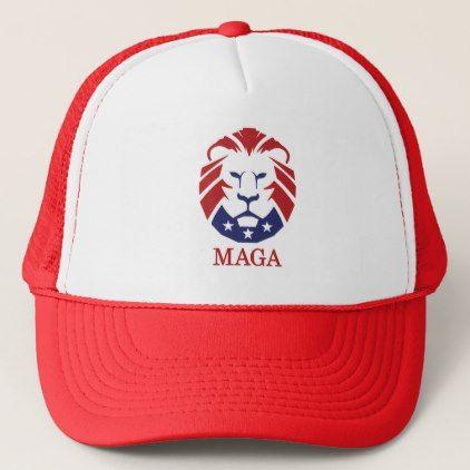 MAGA Trump Pence Lion head Logo Trucker Hat - logo gifts art unique customize personalize