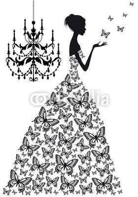 mujer con mariposas, vector