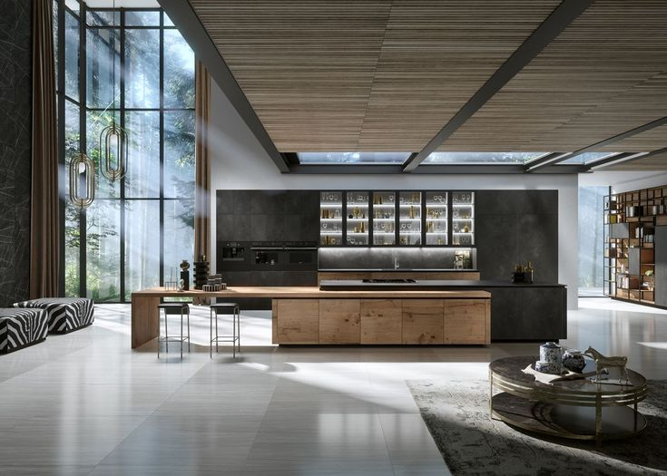 H01 ELEGANTE Bespoke luxury modern kitchen featuring Snaidero WAY cabinetry in the custom combination of Heartwood and Ossido Nero ceramic finishes.