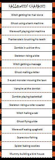 Halloween Charades - free printable Halloween game