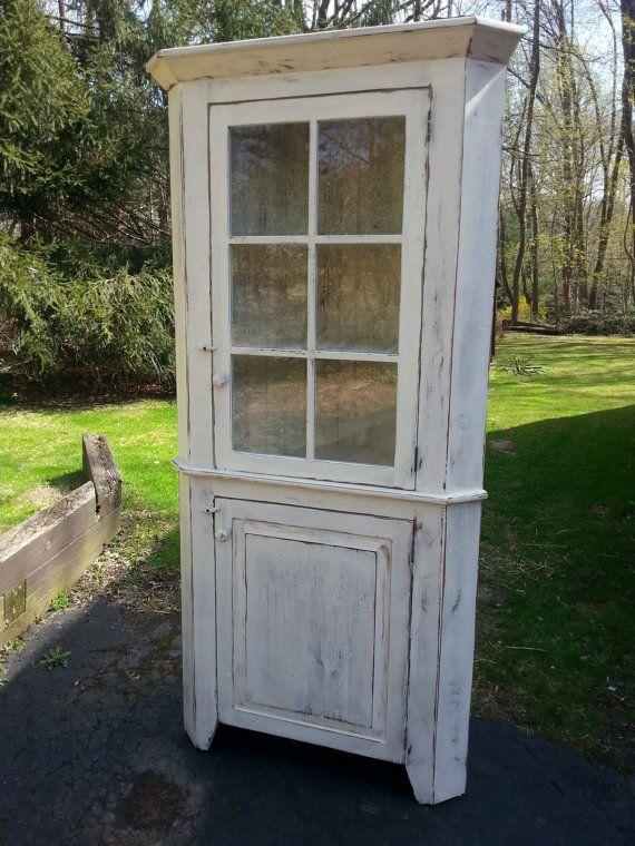 "Antique Reclaimed Barn Wood Corner Hutch Cabinet - Upper Glass -Unfinished - 24""…"