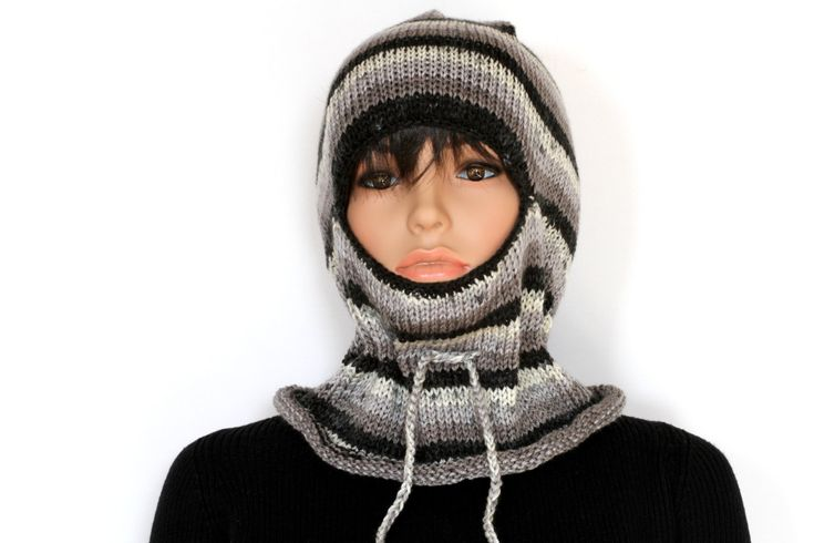 Black gray Knitted  balaclava Ski Mask, Winter Balaclava Mask, knitted Face Mask by ettygeller on Etsy