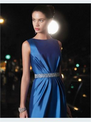 2015 Cocktail Dresses Blue/Red Short Beading Sash Satin 2014 Evening Gowns APR210056