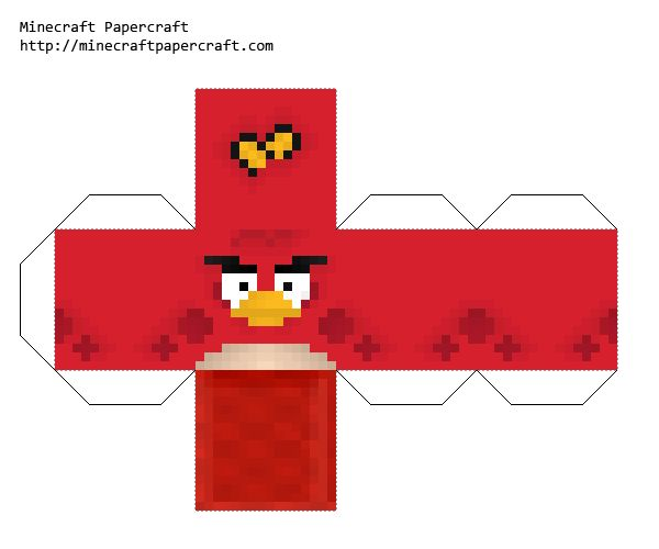 Minecraft Red Bird Cutout Angry