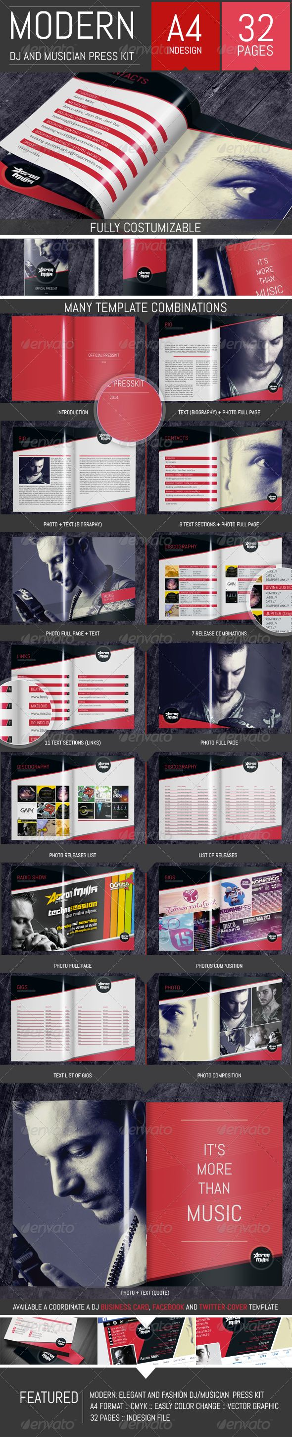 DJ and Musician Press Kit / Resume Template   http://graphicriver.net/item/dj-and-musician-press-kit-resume-template/8325504?ref=damiamio