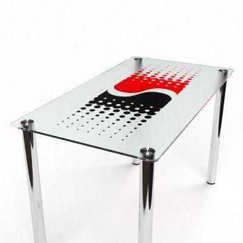 Cтеклянный обеденный стол БЦ-Стол Противодействие 61х91х75 см Черный/Красный/Хром