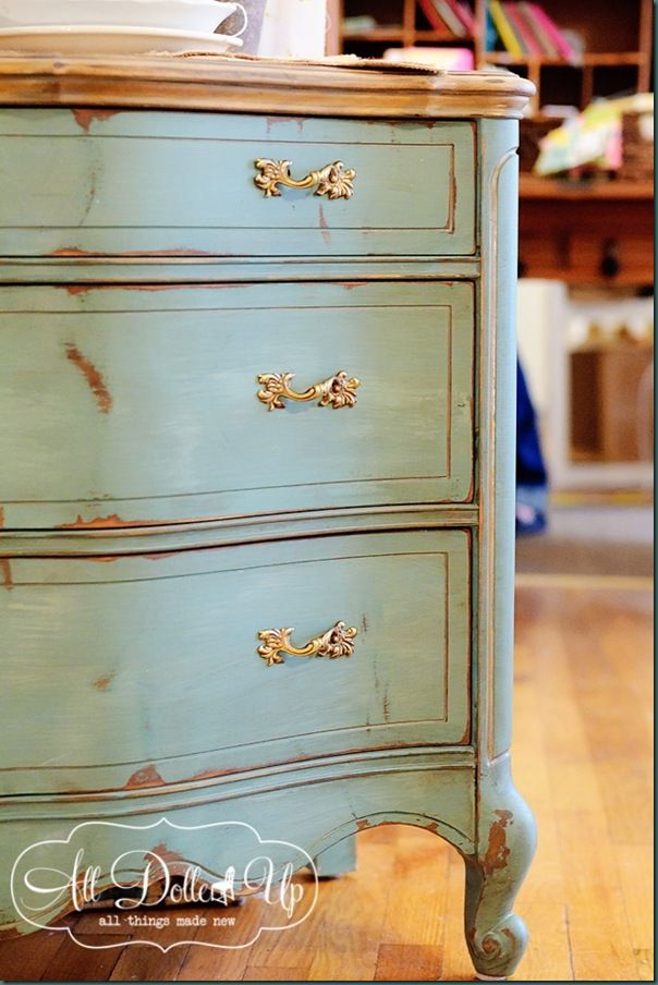 MMS Luckett's Green and French Enamel mixed together- it's combo on this gorgeous French Provincial piece