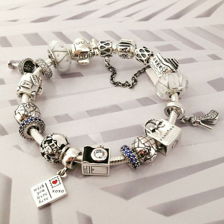 379 pandora charm bracelet blue white hot sale