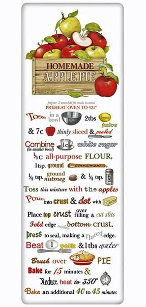 The true workhorse of any kitchen; the flour sack dish towel. Designed by Mary Lake Thompson, featuring a recipe for a traditional apple pie.