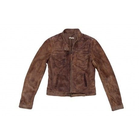 The Old Khaki Avia is a hand painted lamb nappa short fitted long sleeve leather jacket for women. It has a double chest pocket feature with waist buckle detail.
