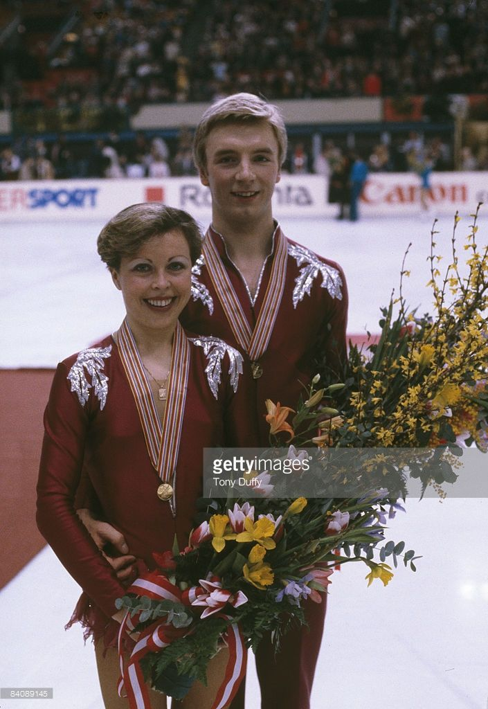 British ice dancers Jayne Torvill and Christopher Dean after winning the European Figure Skating Championships in Innsbruck, Austria, 1981.