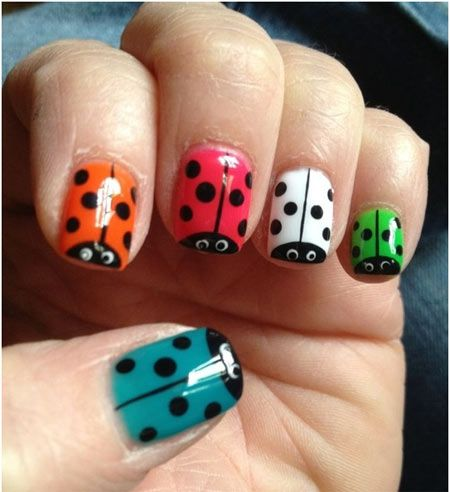 ladybug nails colorful