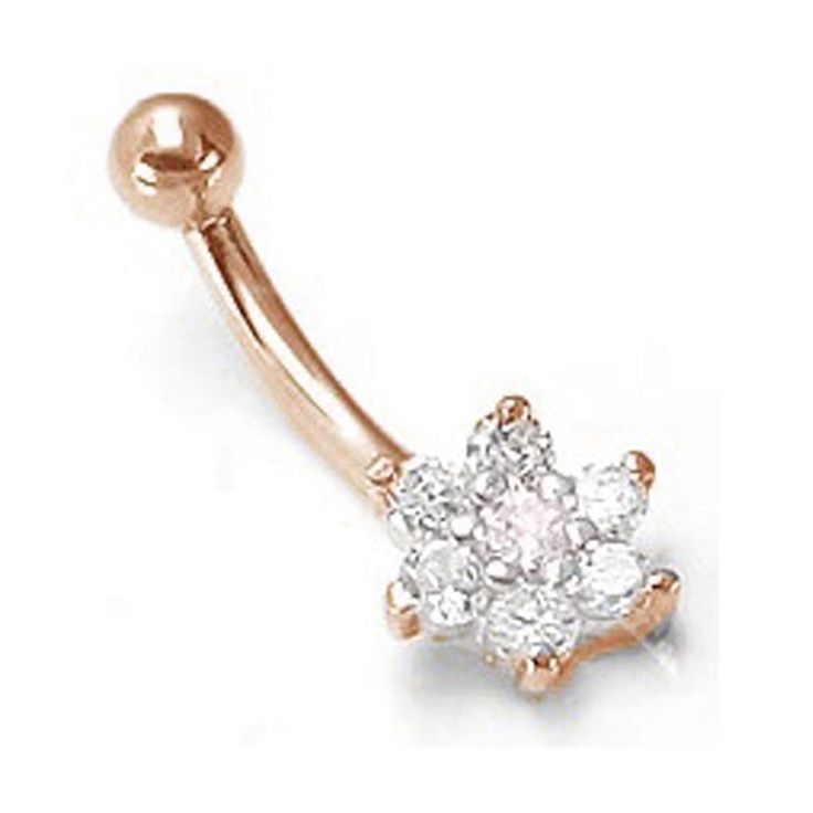 Kiwi Diamond Genuine Diamond Flower Solid 14K Rose Gold Belly Button Rings