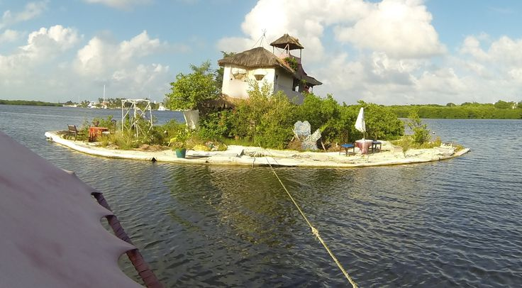 "A floating artificial island built in Mexico by British artist Richart ""Rishi"" Sowa. He's first Island was destroyed by a hurricane in 2005; a replacement, J..."
