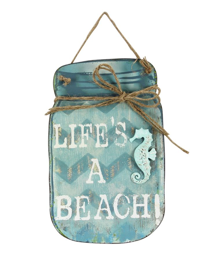 'Life's a Beach' Mason Jar Wall Sign