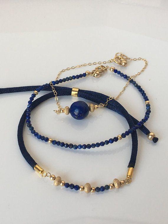 Lapis Lazuli 14 k Gold Filled Bracelets -Three Lapis Lazuli Bracelets - Delicate Gemstone Bracelets - Gold Bracelets -Set of Three Bracelets