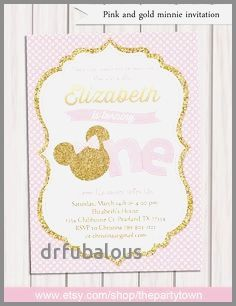 39 inspirational pink and gold minnie mouse 1st birthday invitations