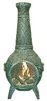Blue Rooster - ALCH001-GA - Grape Leaf Cast Aluminum Chiminea - Gold Accent - Large by Blue Rooster. $429.95. Removable Neck w/Grilling Area. Image May Vary - Please See Product Title for Actual Size and Color!. Safe Single Opening Traditional Design. Decorative Removable Rain Lid. Detailed Grape Leaf Cast Aluminum Chiminea. Distinguished Grape-leaf vine motif. This full size outdoor chiminea makes a great centerpiece for entertaining friends and family.The Blue Roo...