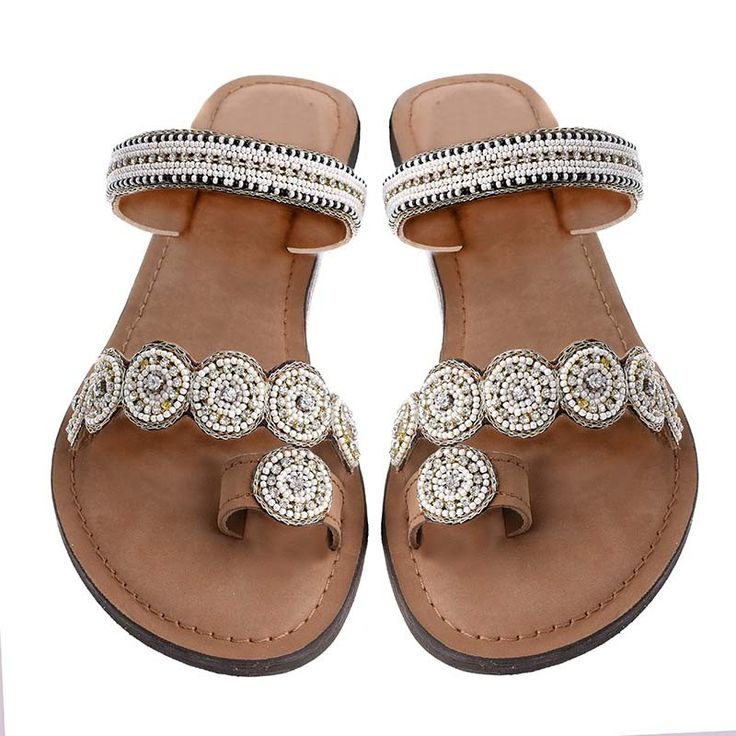 LEATHER SANDAL- BEIGE-GOLD COLOR - Sandals