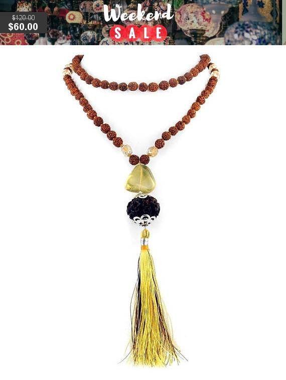 5 Mukhi 108 Beads Rudraksha Holy Beads Necklace With Golden Topaz