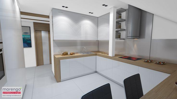 wizualizacja kuchni w mieszkaniu w Bochni, więcej na: http://marengo-architektura.pl/portfolio/poddasze-w-bochni/