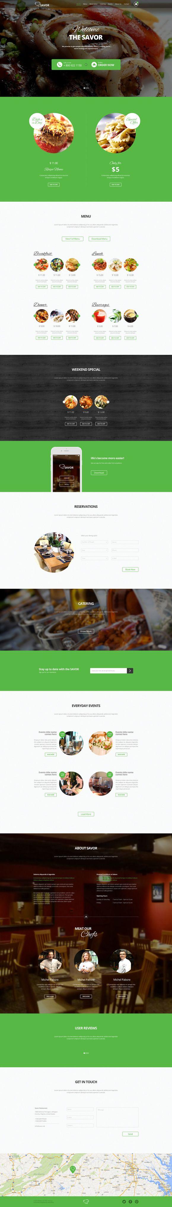 Savor-One Page Restaurant Theme by shaziafolio on @creativework247