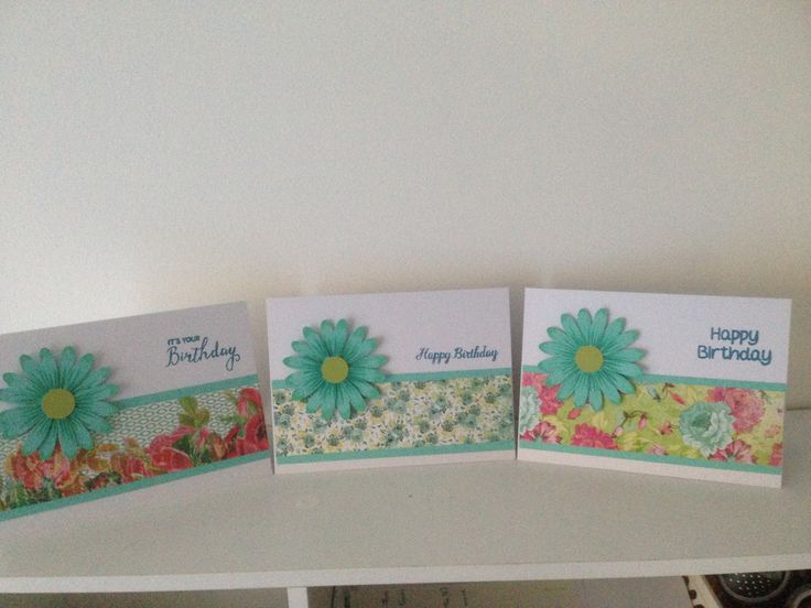 Part of a set of 6 birthday cards using SU daisy punch, Fiskers sml circle punch and scraps of Kaisercraft paper.