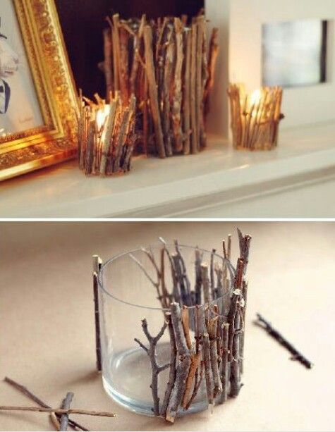 Very creative. Using sticks to decorate the candles glass