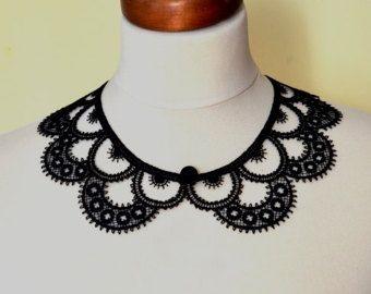 Artículos similares a Collar de crochet blanco de boda LUX con grano, cuello peter pan, cordón del collar, mostaza, collar collar, día de San Valentín, Navidad, OOAK en Etsy