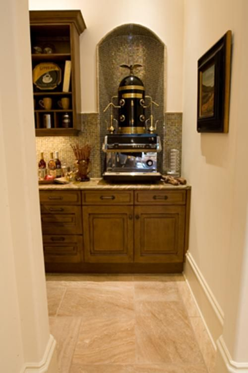would love to have a coffee bar with my own barista at home!