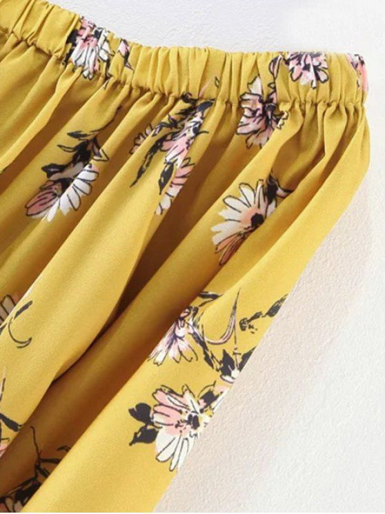 Floral Off Shoulder Shift Dress - YELLOW S Mobile