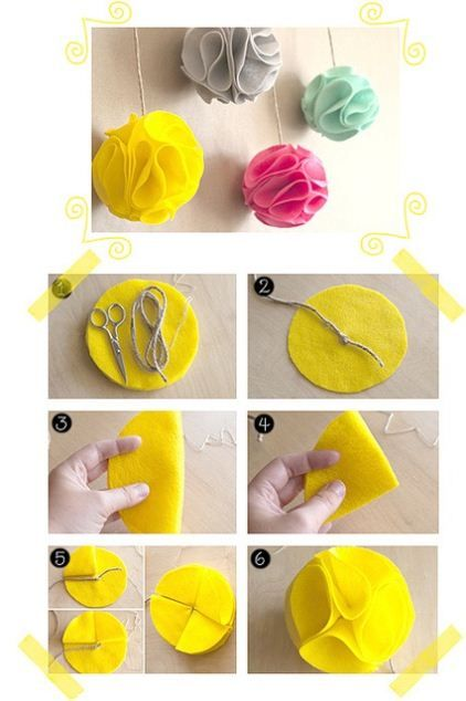 DIY Felt Pom Flower DIY Felt Pom Flower-- these would be cute for Christmas packaging