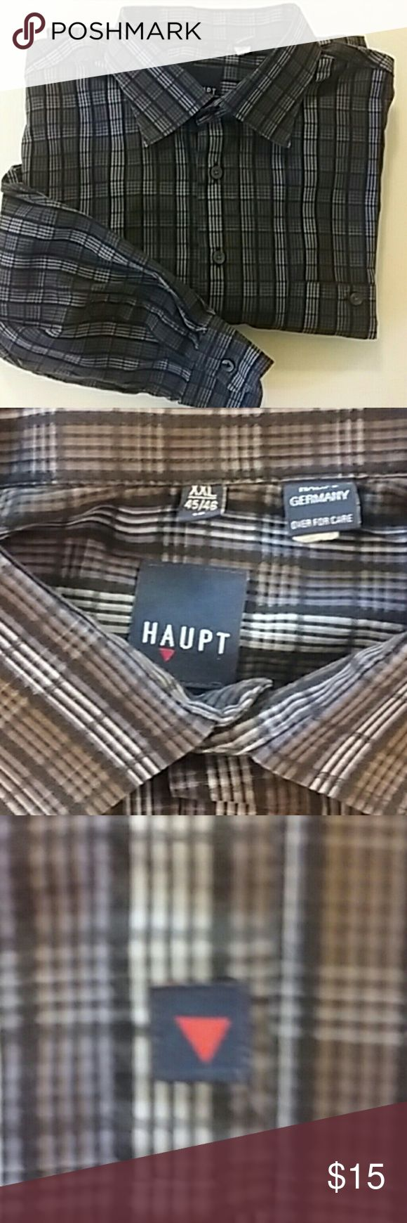 HAUPT Casual Button Down Designer Casual Button down shirt by HAUPT in EUC. This shirt has no holes, stains, loose threads, worn spots, pilling, fading, etc. All buttons are firmly attached. Get this nice designer shirt at an amazing bargain and bundle with other pieces from my closet to save even more $$$ HAUPT Shirts Casual Button Down Shirts