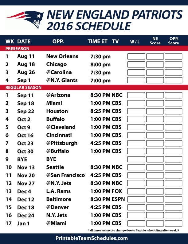 New England Patriots 2016 Football Schedule. Print Schedule Here - http://printableteamschedules.com/NFL/newenglandpatriotsschedule.php