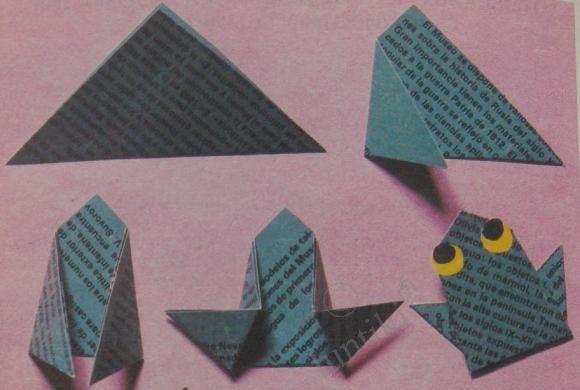 Оригами - лягушка, жаба, головастик...