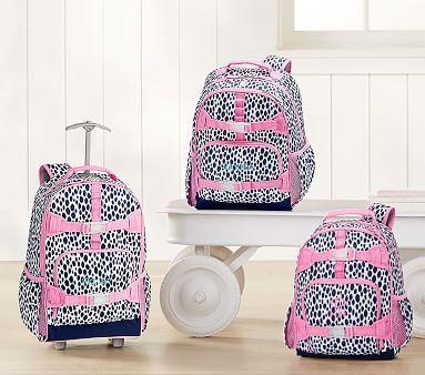 d32a130f6e9b Mackenzie Navy Pink Dalmatian Dot Backpack  pbkids