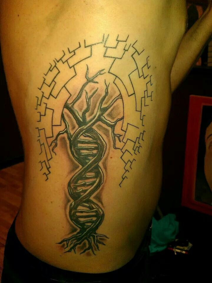 My first tattoo: DNA + phylogenic tree