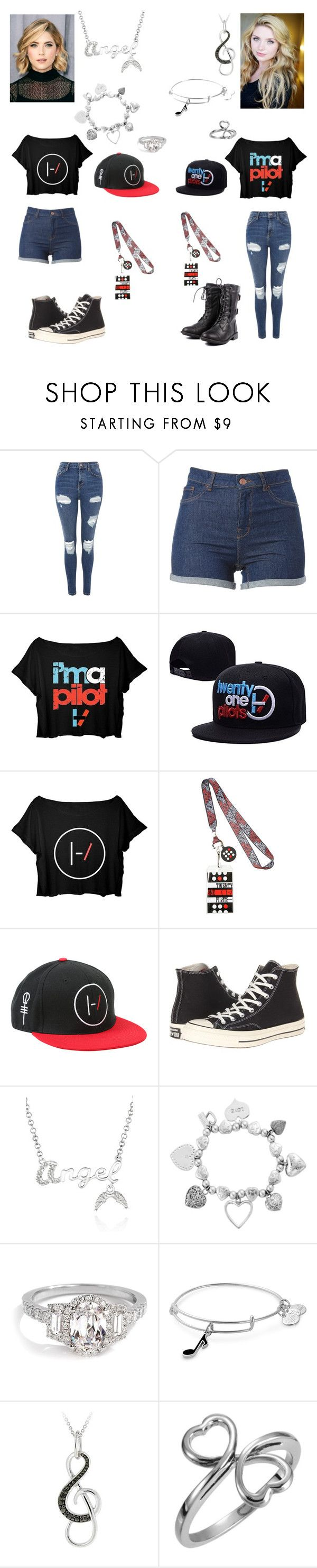 """😇Nevaeh😇 Harmony & Nevaeh going to a Twenty One Pilots concert"" by rroyalserena ❤ liked on Polyvore featuring Topshop, Hot Topic, Converse, Belk & Co., ChloBo, Alex and Ani, DB Designs and nevaehqueen"