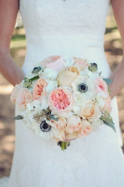 Spring wedding bouquet recipe. Pink peach and white bouquet with garden roses, anemones, hydrangea, roses, and seeded eucalyptus