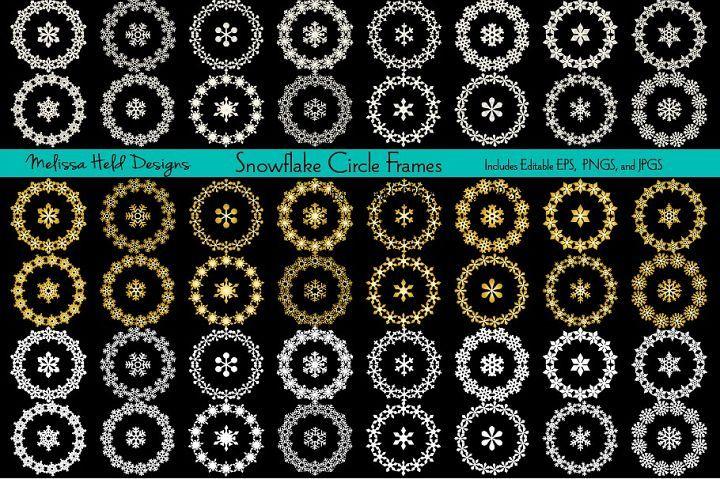 Download Snowflake Circle Frames 163757 Decorations Design Bundles Circle Frames Border Pattern Frame Decor