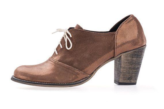 Sale 30% Oxford Heels   Shiny Bronze Heel Shoes  by ImeldaShoes