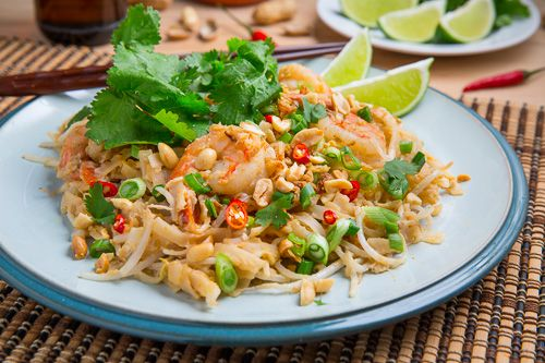 Spicy Peanut Pad Thai-Serve with lime wedges and extra sriracha for those that like it hot and spicy!