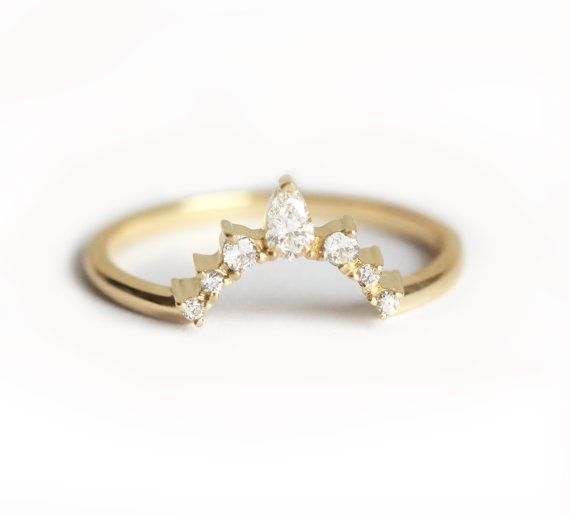 Wedding Bands For Pear Cut Engagement Rings -  gold ring - yellow gold and diamond wedding band, curved wedding band