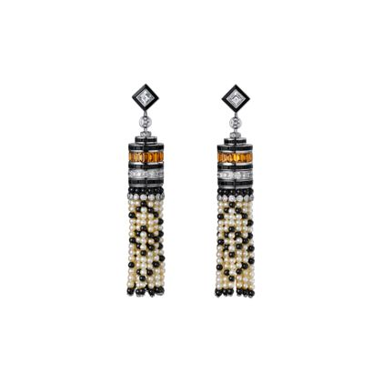 High Jewellery earrings Earrings - platinum, natural pearls, calibrated yellow tourmalines, onyx, two square-shaped diamonds, brilliant-cut diamonds.