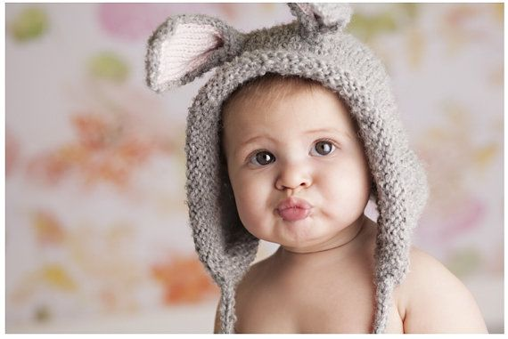 Bunny Hat - Bunny Ears - Knit Animal Bonnet Pixie for Boys and Girls Babies - Natural Fibers - Spring - Easter - Alpaca - Merino